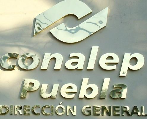 CONALEP PUEBLA DIRECCION GENERAL - Letrero armado tipo 3D en aluminio, anodizado dorado, terminado brillante.