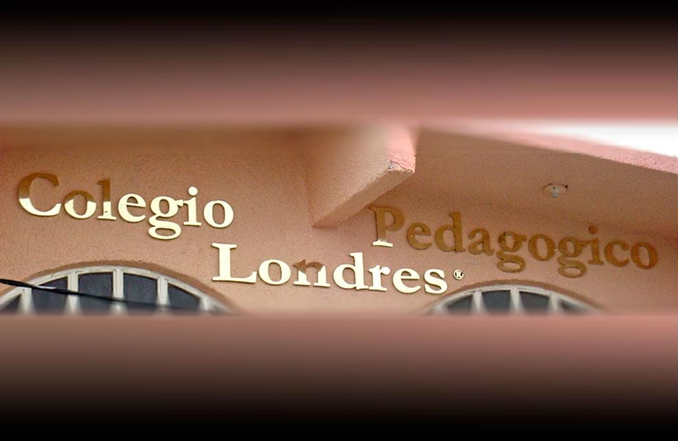 COLEGIO PEDAGÓGICO LONDRES - Letrero armado tipo 3D en aluminio, anodizado dorado, terminado brillante.