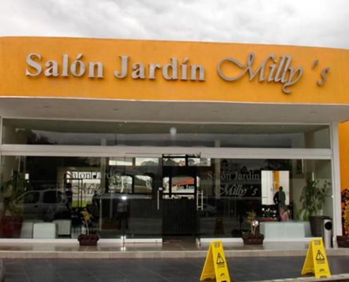 SALÓN JARDÍN MILLIS - Letrero armado en aluminio natural , terminado mate, iluminado a base de leds.