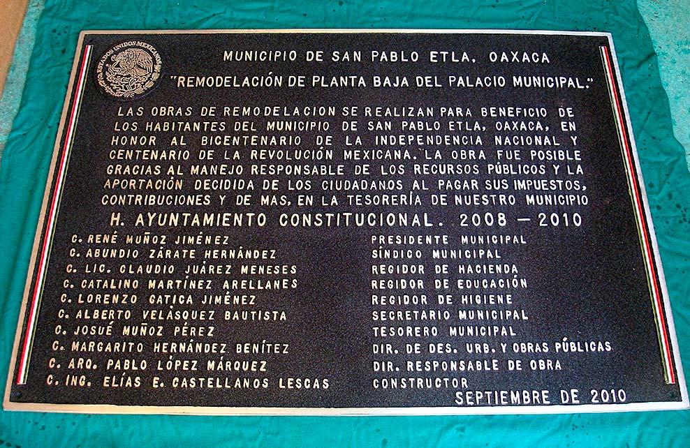 MUNICIPIO DE SAN PABLO ETLA - Placa fundida