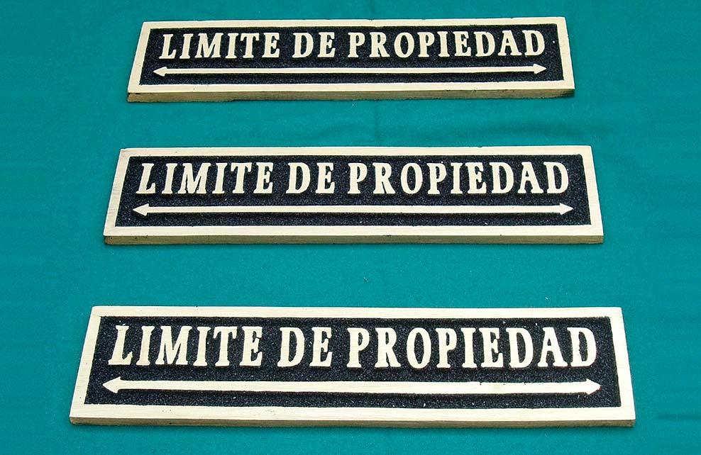LIMITE DE PROPIEDAD - Placas fundidas