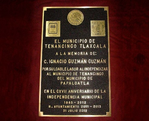 MUNICIPIO DE TENANCINGO TLAXCALA - Placa fundida