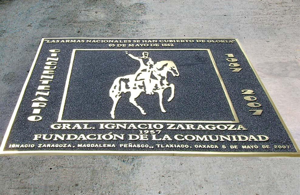 GRAL. IGNACIO ZARAGOZA - Placa fundida