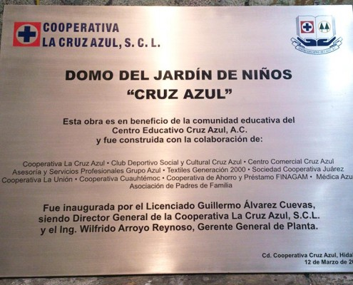 COOPERATIVA LA CRUZ AZUL - Placa fotograbada