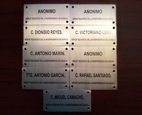 HEROES TEZOATECOS OAXACA - Placas fotograbadas 1