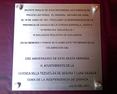 H. AYUNTAMIENTO DE TEZOATLÁN - Placa fotograbada