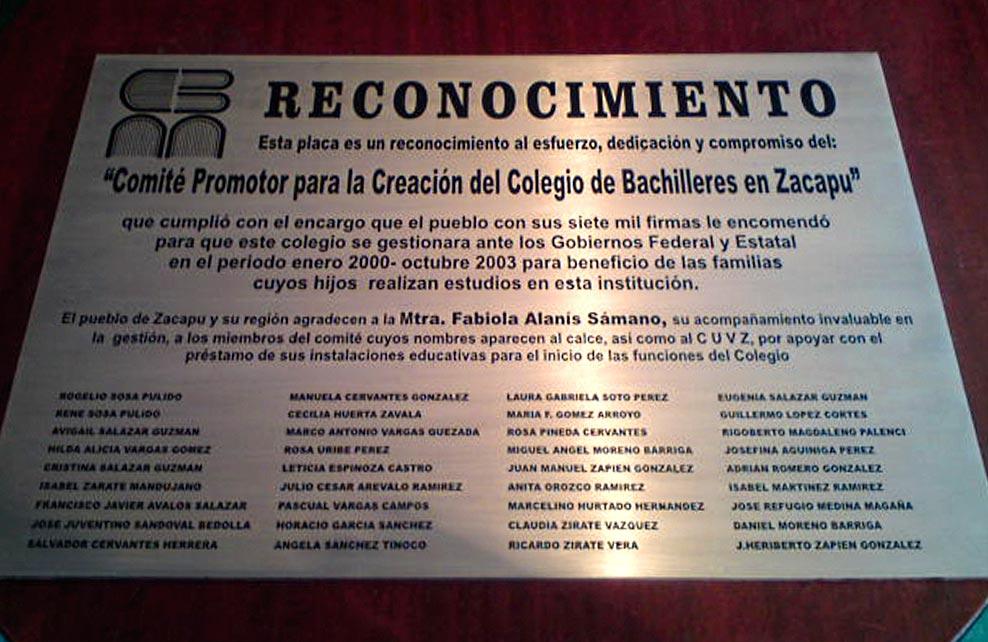 RECONOCIMIENTO PUEBLO DE ZACAPU - Placa fotograbada