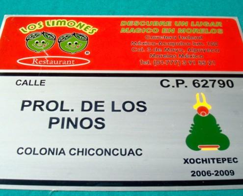 LOS LIMONES RESTAURANTE - Placa fotograbada