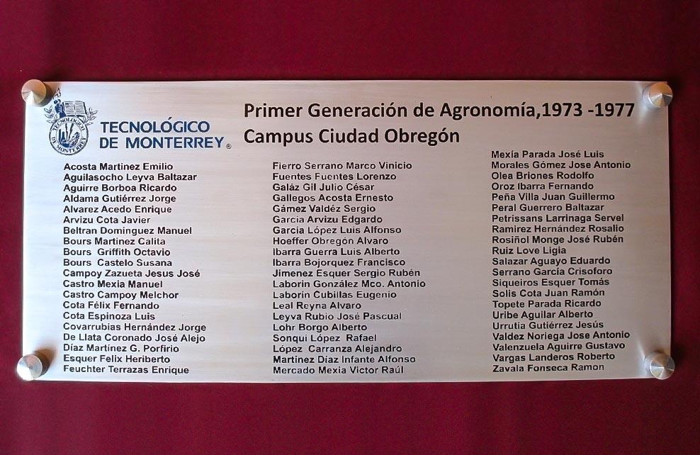 INSTITUTO TECNOLOGICO DE MONTERREY - Placa fotograbada 1