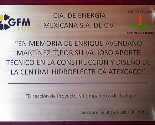 COMPAÑÍA DE ENERGIA MEXICANA - Placa fotograbada