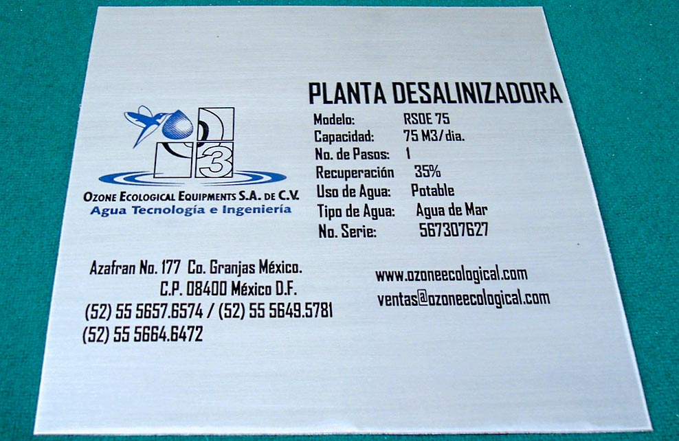 OZONE ECOLOGICAL EQUIPMENTS - Placa de aluminio fotograbada